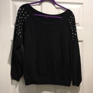 ELECTRIC PINK sweatshirt studs on shoulders